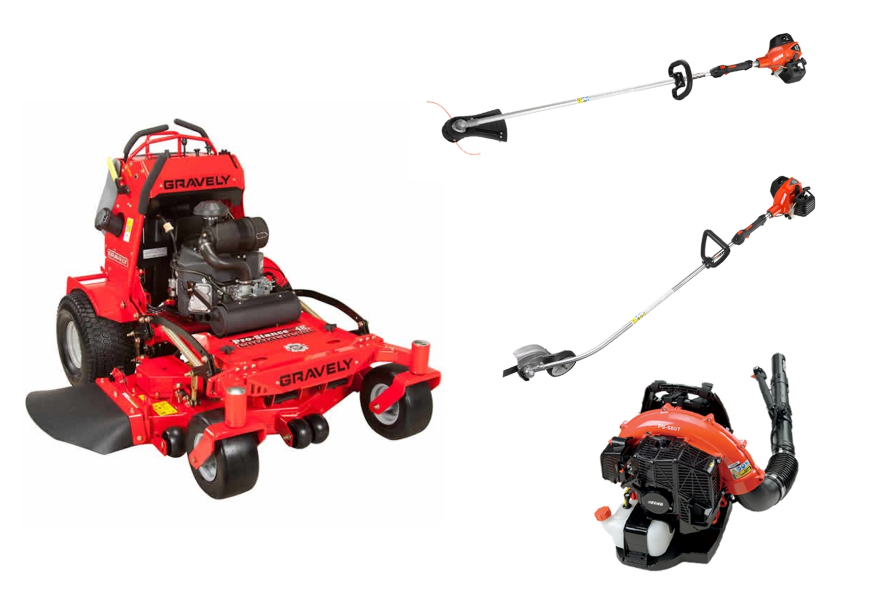 GE701 Gravely Mower Bundle - Pro-Stance 48 Stand On PB-580T Blower SRM-2620  Trimmer