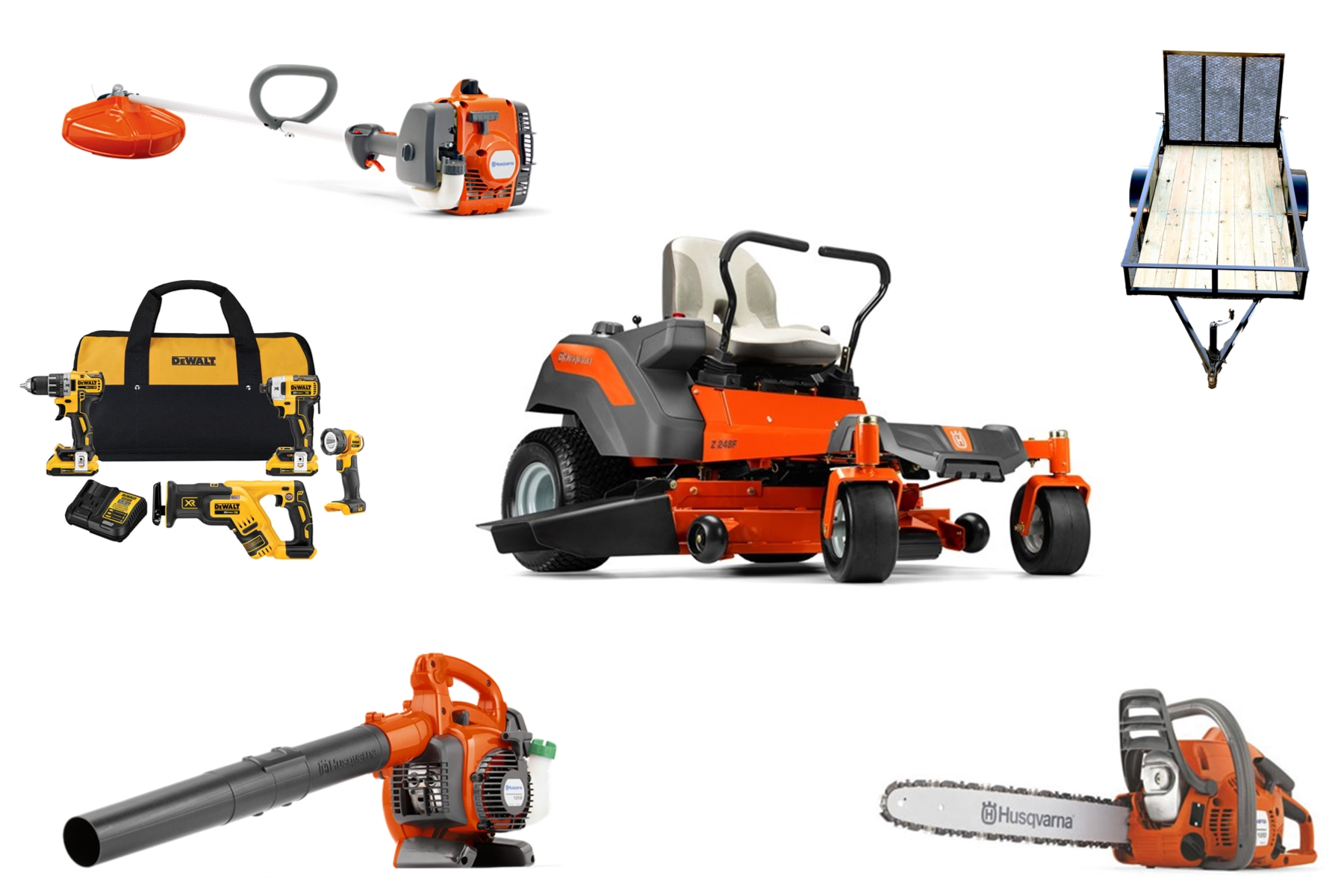 HH4001 Husqvarna Mower Bundle - Z248F Zero Turn 129L Trimmer 120 II Chainsaw